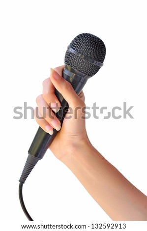 Woman hand with microphone isolated on white background
