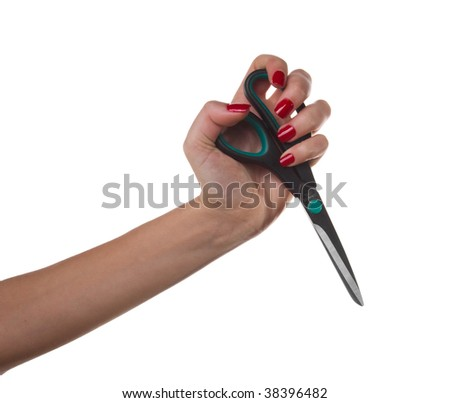Woman hand with scissors