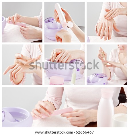 woman hands care and manicure collage