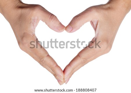 woman hands forming a heart on a white background