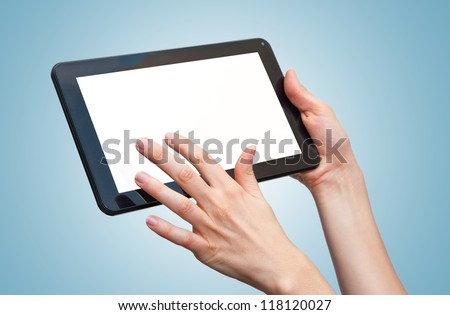 woman hands holding a tablet