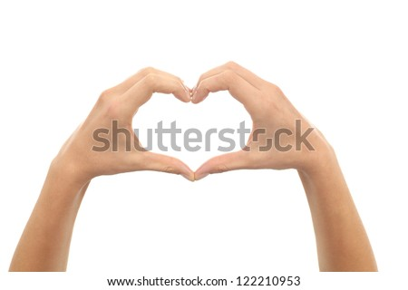 Woman hands making a heart shape on a white isolated background