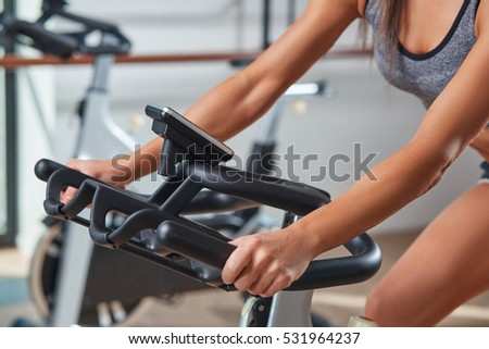 Indoor Cycling Bicycle Weightloss Group Training Stock Photo