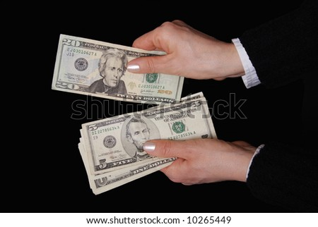 Woman hands with dollar banknote in close up