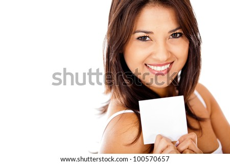Woman holding a piece of paper - isolated over a white background