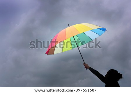 Woman holding an umbrella with rainstorm