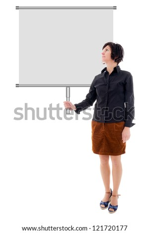 Woman holding billboard