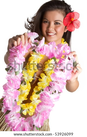 Woman holding tropical flower lei