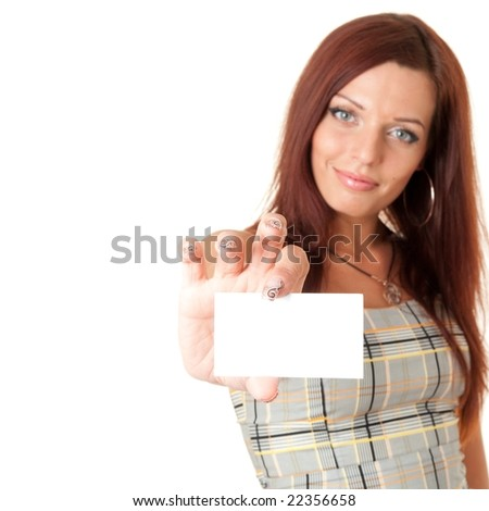 woman holds an empty business card. It is ready to your inscription.