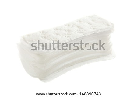 Woman hygienic every day panty liners in a pile isolated on white