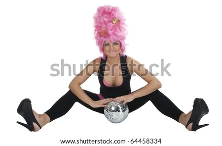 Woman in a big pink party wig