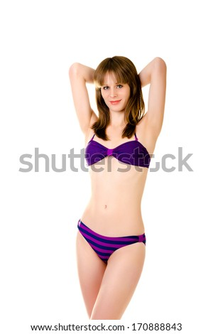 woman in bikini isolated on a white background