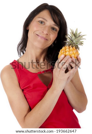 woman in red dress with pineapple