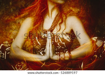 woman in yoga position  composite photo close up of hands in namaste gesture