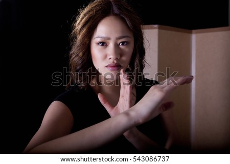 Woman karate pose, a martial art portrait