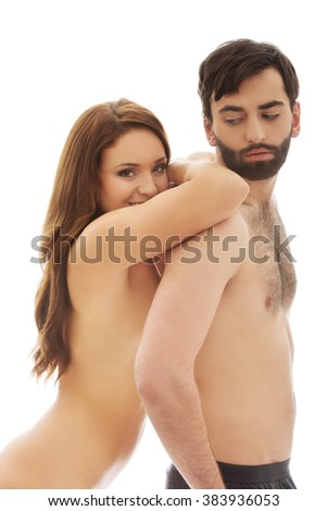 Woman leaning on man's back.