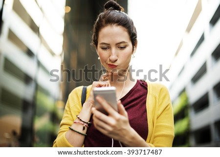 Woman Listening Music Media Entertainment Traveling Concept