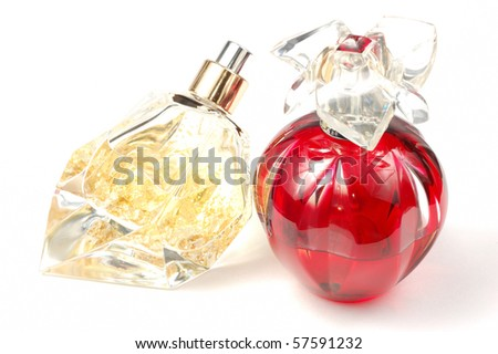 Woman luxury perfumes with gold inside