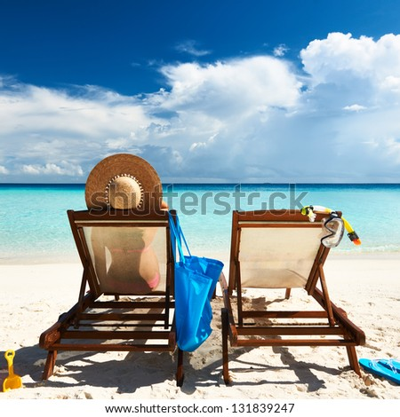 couple on tropical beach maldives stock photo 130981355 shutterstock. Black Bedroom Furniture Sets. Home Design Ideas
