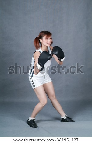 Woman or boxing fitness woman on background