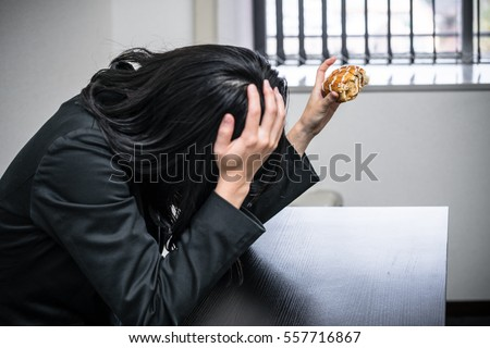 Woman overeating image