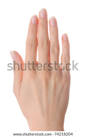 Woman palm on white background isolated