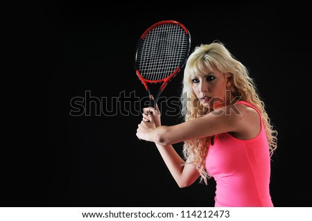 Woman plays tennis