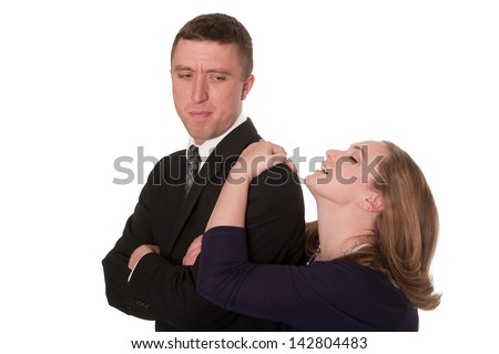 Woman pleads with man - humorous concept, isolated on white