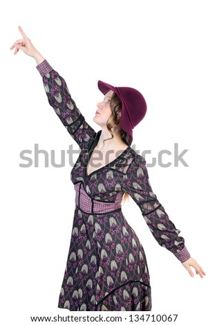 Woman pointing finger up on white background