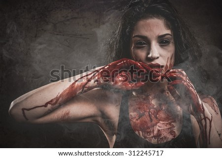 Woman Possessed as a zombie or demon
