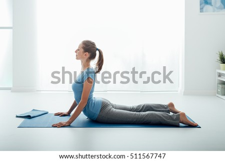 perfect plank fulllength side view young stock photo