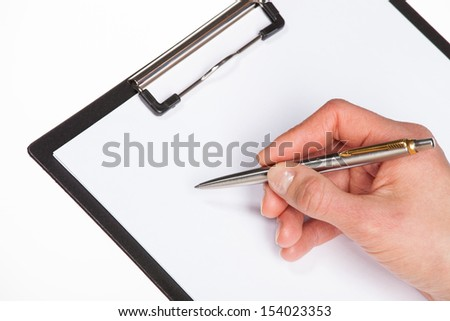 Woman's hands holding blank sheet of paper in a clipboard and a pen; isolated on white