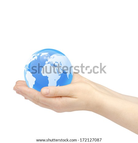 Woman's hands holding the glass earth globe on white background.