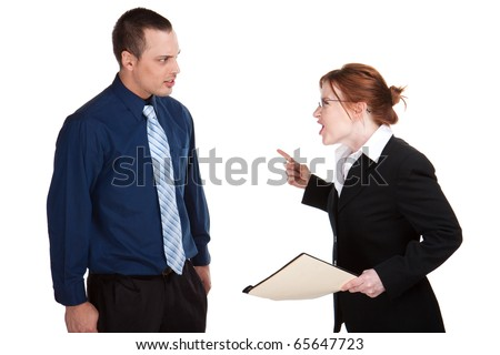 Woman screams at a young man, isolated studio image