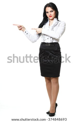 woman show demonstrate smiling modern business woman presenting something pointing with finger isolated on white