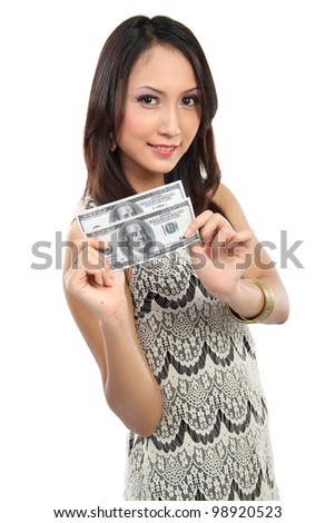 woman showing  money 100 dollar bill smiling on white background