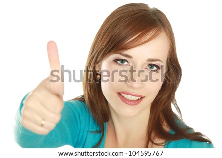Woman showing thumb up, isolated on white background