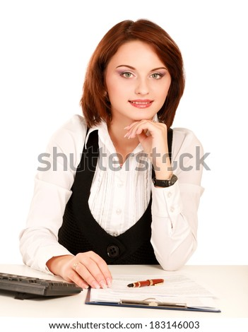 Woman sitting on the desk with papers, isolated on white background