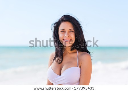 woman smile beach ocean, young girl summer vacation holiday on sea enjoying sunny day blue sky