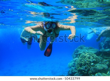 Woman snorkeling in Red Sea