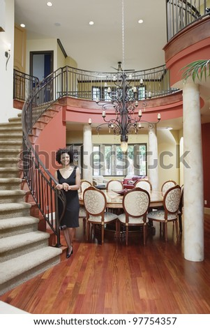 beautiful entry staircase this luxury stairway stock photo 118131022