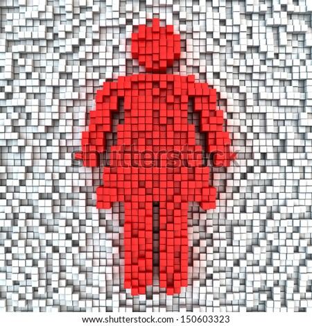 Woman symbol made from matrix of red cubes
