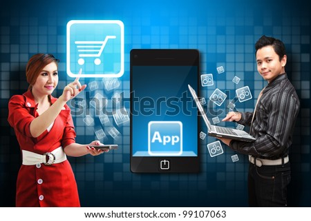 Woman touch the Cart icon from mobile phone