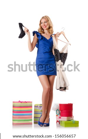 Woman trying new clothing after shopping