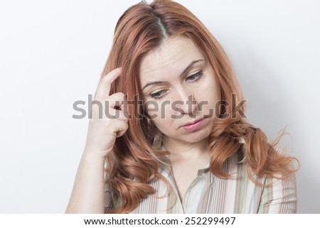 Woman upset