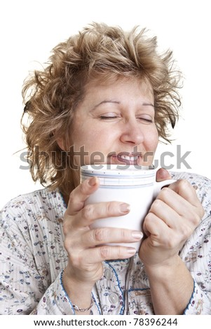 Woman waking up with a coffee