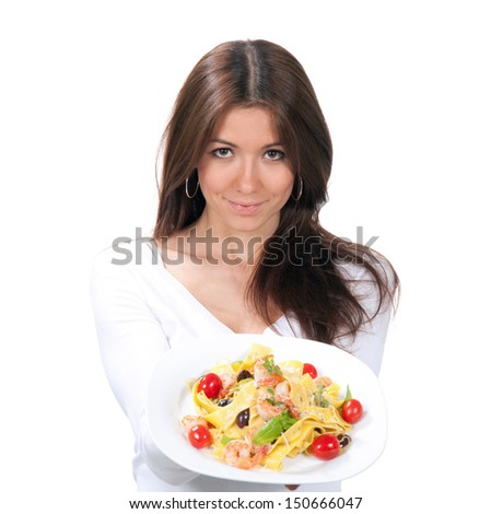Woman wants to eat spaghetti pasta with shrimps Italian food on a white background