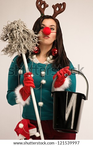 Woman wearing festive decorations ready for cleaning after Christmas