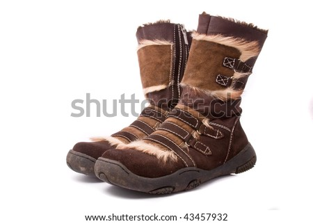 Woman winter boots isolated on white