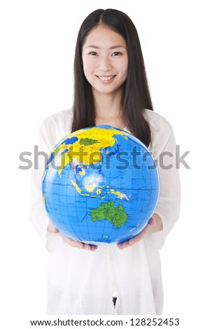 Woman with a globe in his hands